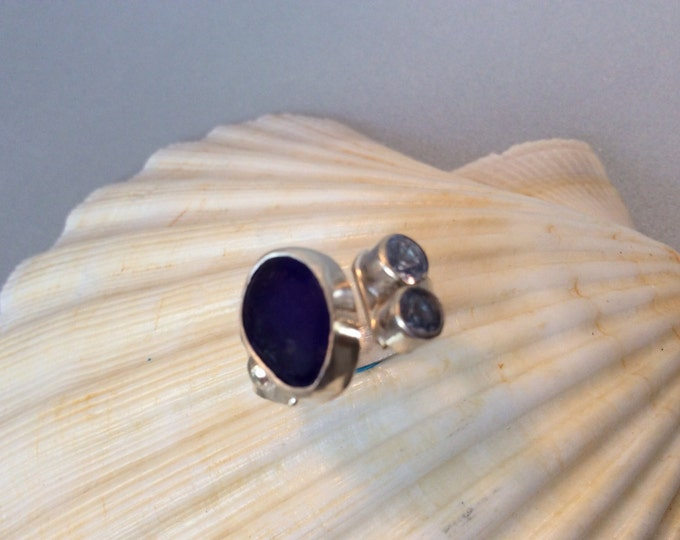Sterling silver and royal blue seaglass ring