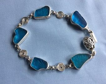 Scottish Seaglass Sterling silver bracelet