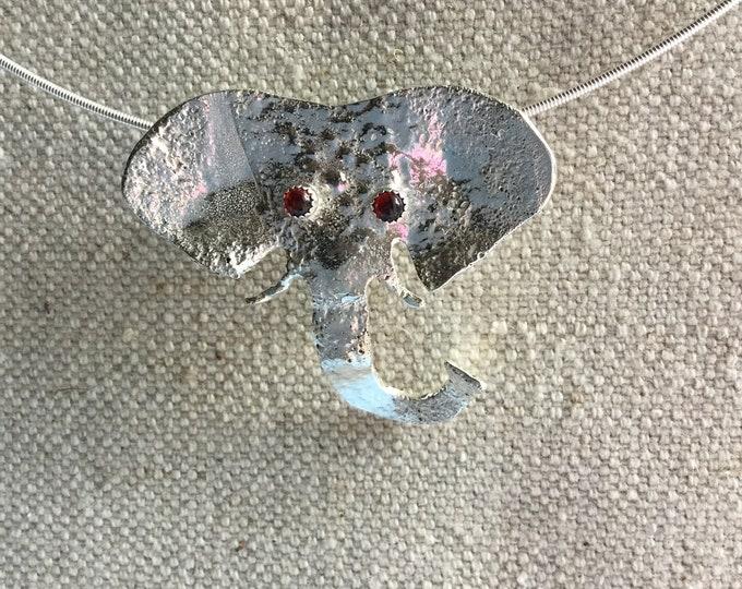 Sterling Silver Elephant with Garnet Eyes