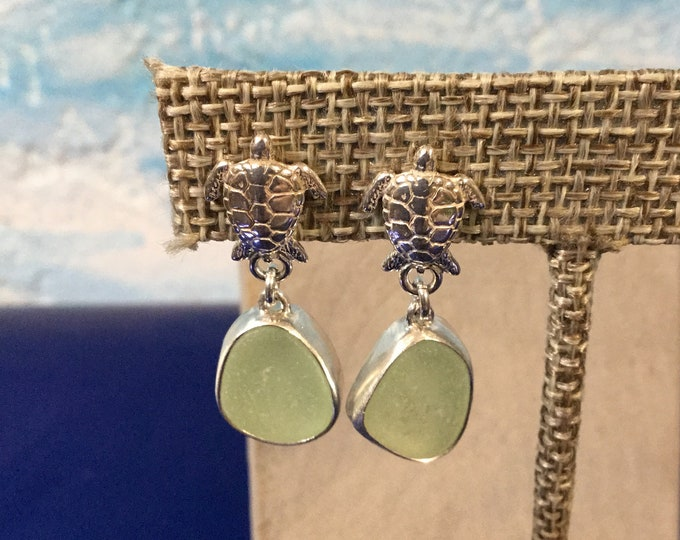 Sterling silver earrings with sea foam green seaglass and silver turtles