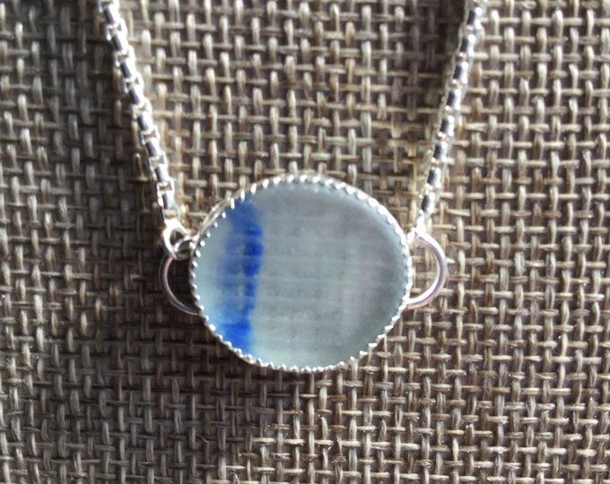 Ohajiki Japanese Seaglass Bolo Bracelet Clear with Blue Flash