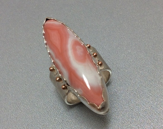 Galah Agate Creek marquise Sterling and gold ring