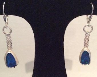 Australian Opal sterling silver earring