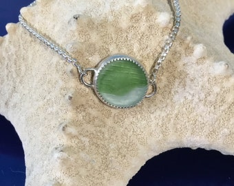 Ohajiki Japanese Seaglass Bolo Bracelet green flash