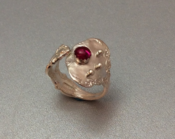 Sterling Silver Salt Spoon Ring with lab grown ruby stone