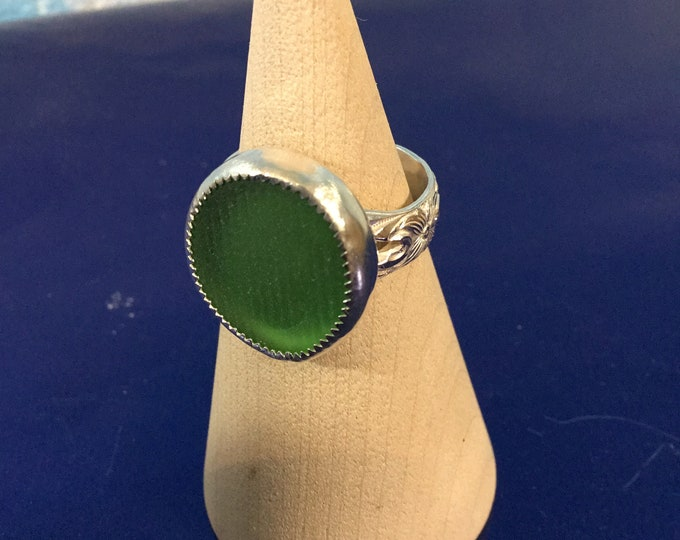 Green Ohajiki Seaglass and Sterling Silver Ring