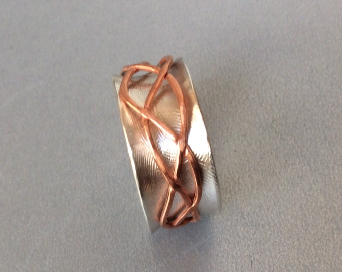 Sterling silver spinner ring with copper Free Form spinner band