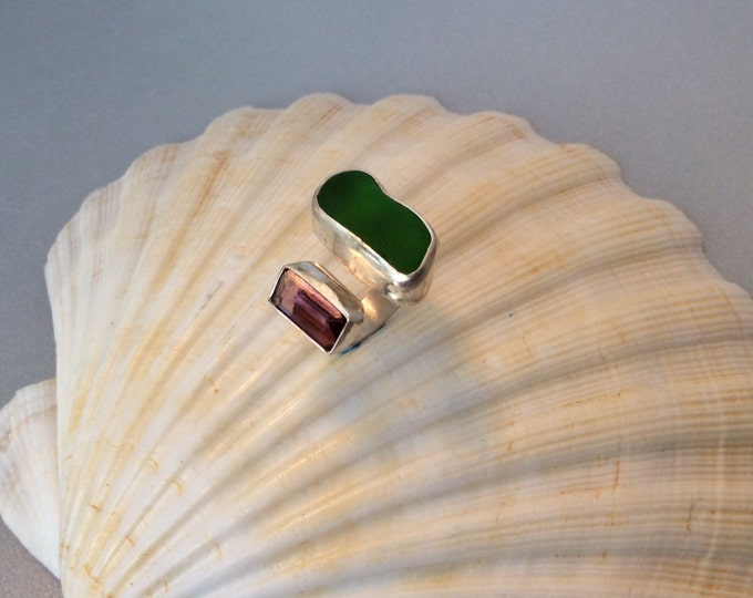 Sterling green and purple seaglass ring
