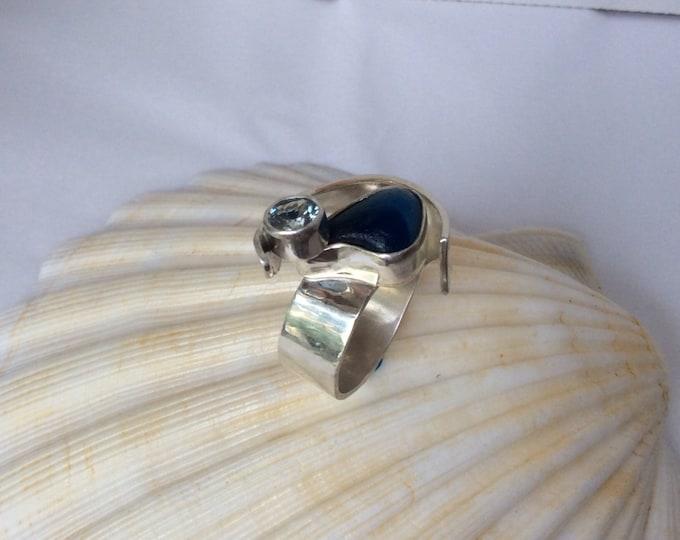Sterling silver with multi blue Seaham beach sea-glass and aqua marine stone