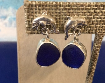 Sterling silver earrings with Cobalt blue seaglass and silver dolphins
