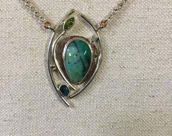 Indonesian Opal Petrified Wood stone necklace