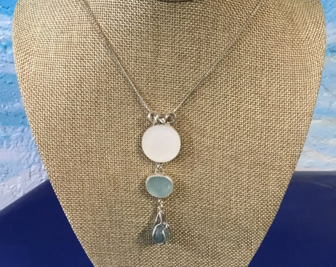 Three Tier Japanese Seaglass necklace