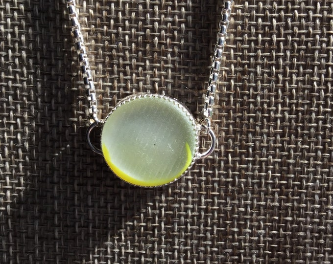 Ohajiki Japanese Seaglass Bolo Bracelet Clear with yellow Flash