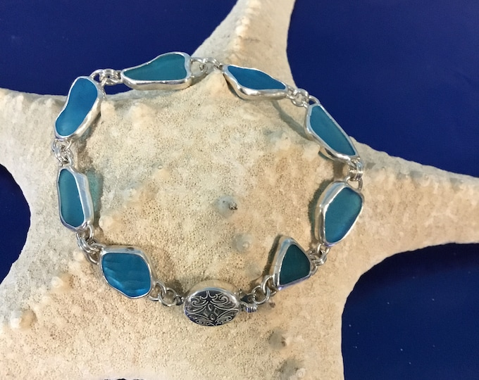 Electric blue Seaglass Sterling silver bracelet