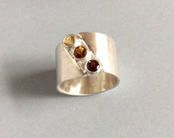 Wide band modern garnet and Citrine Sterling silver ring