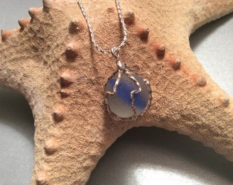 Seaham beach seaglass marble in a Sterling silver cage