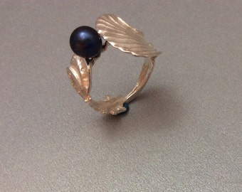 Sterling Silver Salt Spoon Ring with Black Pearl