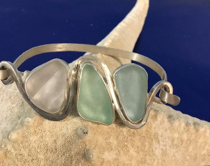 Sterling silver sea glass bracelets in pastels