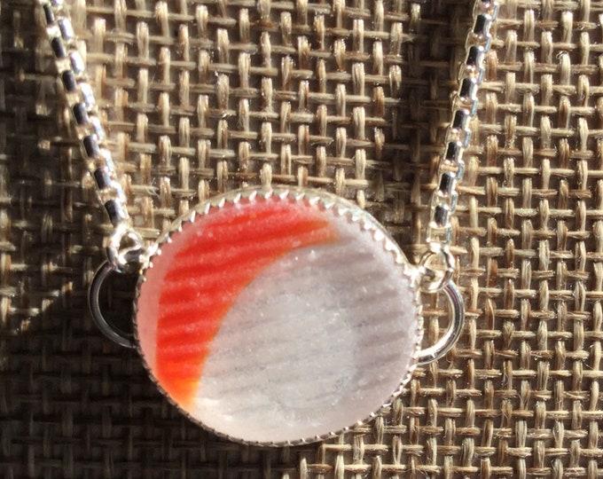 Ohajiki Japanese Seaglass Bolo Bracelet Clear with Orange Flash