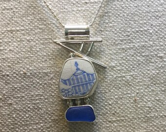 English pottery pagoda and blue seaglass necklace