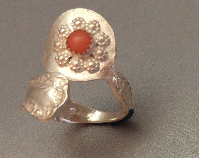 Sterling Silver Salt Spoon Ring with Coral stone