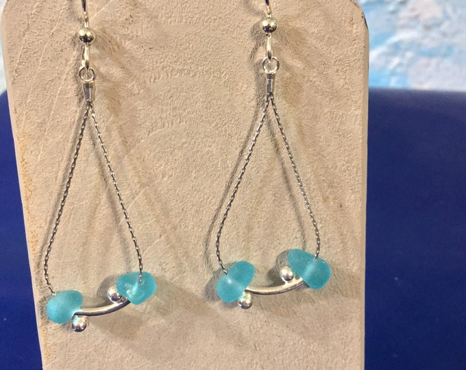 Sterling silver earrings with Aqua blue seaglass