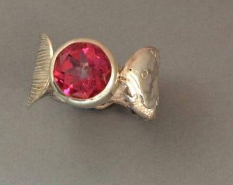 Fishy Fishy Sterling Silver Salt Spoon Ring with Blush Topaz