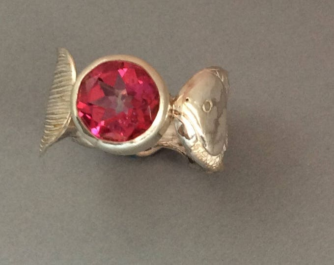 Fishy Fishy Sterling Silver Salt Spoon Ring with Blush Topaz