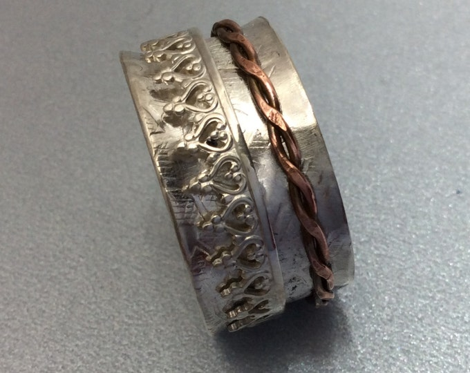 Sterling silver spinner ring with copper and Sterling spinners