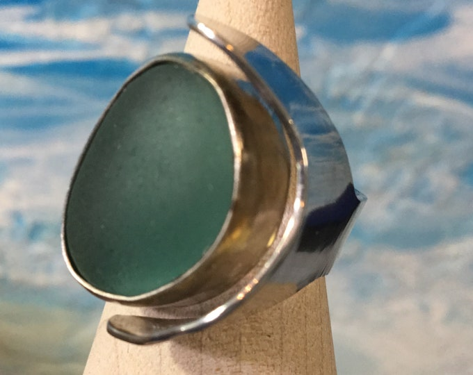 Brilliant Multi Seafoam Green Seaham Seaglass and Sterling Silver Ring
