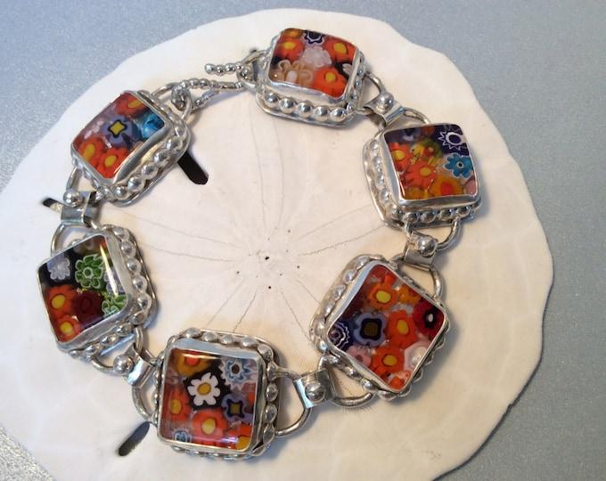 Sterling silver millefiori Venetian glass bracelet