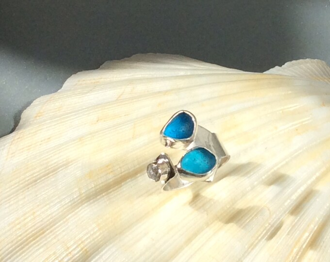 Bright Blue English Seaglass set on sterling silver ring