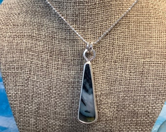 Dendritic Agate and sterling silver necklace