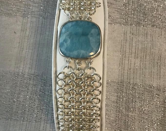 Sterling Silver and Larimar Gemstone Bracelet