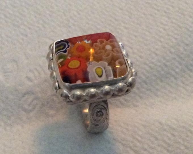 Sterling silver millefiori Venetian glass ring