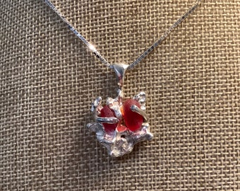 Red Seaglass Coral Reef Necklace