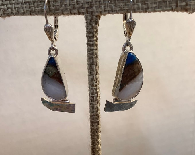 Rare Peruvian Blue Opal and silver sailboat earrings
