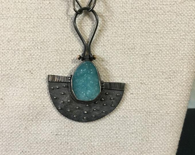 Rare Blue Hemimorphite Druzy necklace