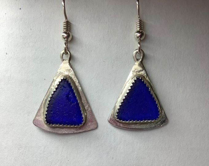 Cobalt Blue Seaglass Earrings set in Sterling Silver