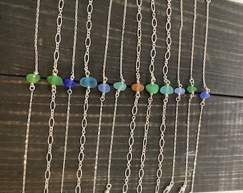 Dainty sterling silver seaglass bracelets