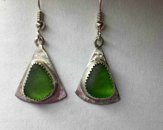 Bright Green Seaglass Earrings set in Sterling Silver