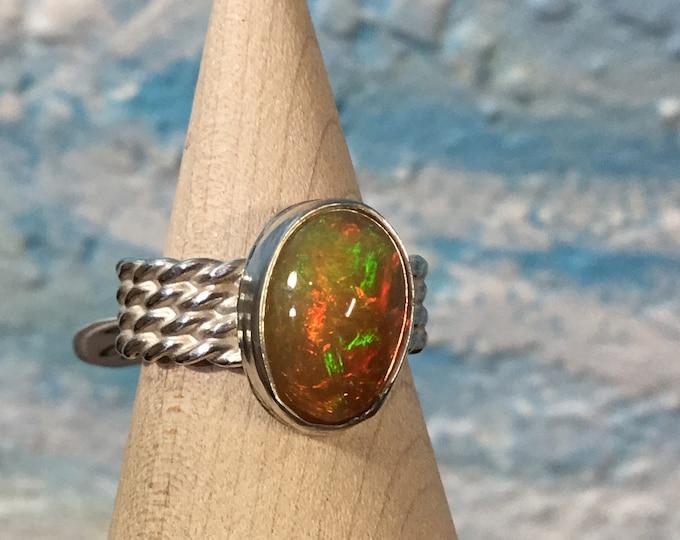 Ethiopian Opal sterling silver ring