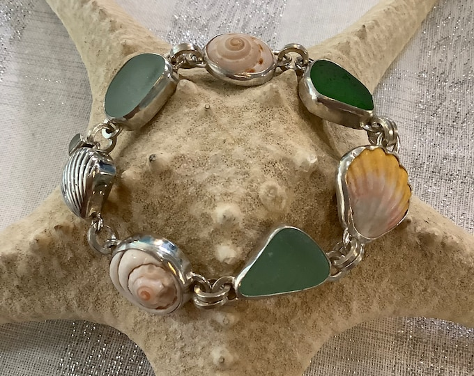 Seaglass and Seashell with Hawaii Sunrise she'll sterling silver bracelet