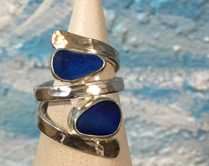 Cobalt blue Seaglass and Sterling Silver Ring