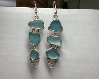 Shades of Aqua Seaglass Earrings set in Sterling Silver
