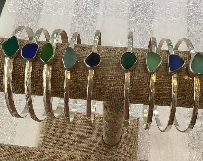 Sterling silver seaglass bangle bracelets