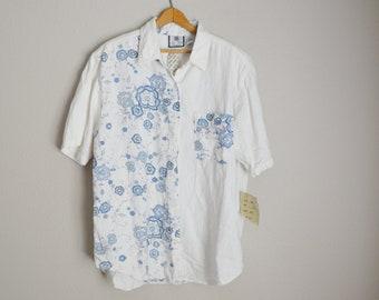 white blue floral oversized 90s denim bluse white blouse -- womens xxlarge-  1X c27523590
