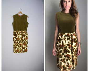 1d0fca0f10 vintage 50s 60s green velvet and tapestry fall autumn sleeveless dress --  womens small-- 35-25-free