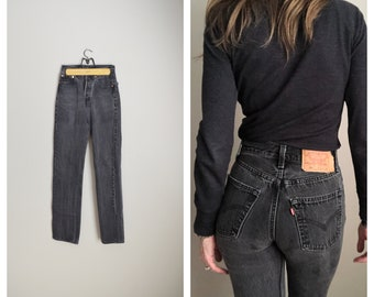 d8825b16 black faded 80s Levi's Levis 501 high waisted button fly USA made slim jeans  -- womens 24x32 -- womens 24/25