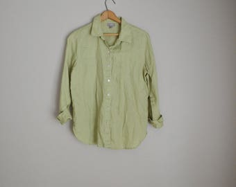 2785acf4aded5f vintage chartreuse green linen j jill vintage oversized green long sleeve blouse  shirt -- womens small petite